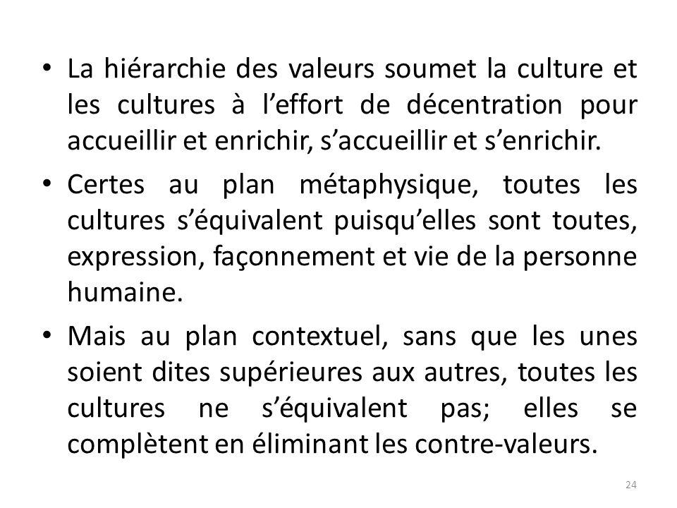 La hiérarchie des valeurs soumet la culture et les cultures à leffort de décentration pour accueillir et enrichir, saccueillir et senrichir. Certes au