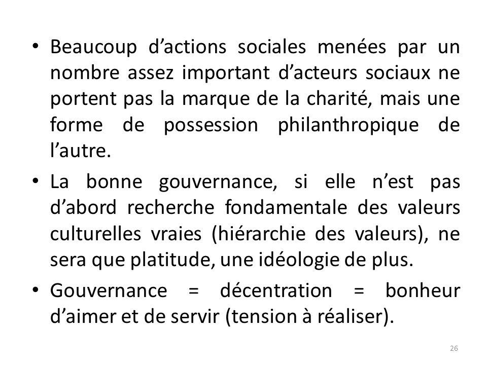 Beaucoup dactions sociales menées par un nombre assez important dacteurs sociaux ne portent pas la marque de la charité, mais une forme de possession