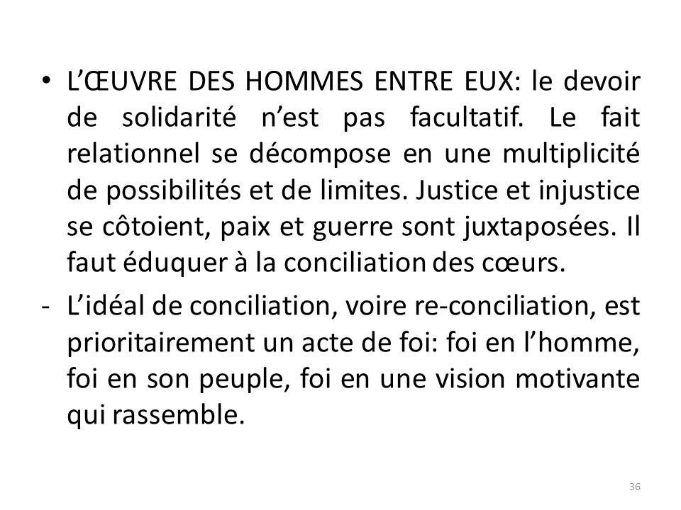 LŒUVRE DES HOMMES ENTRE EUX: le devoir de solidarité nest pas facultatif. Le fait relationnel se décompose en une multiplicité de possibilités et de l