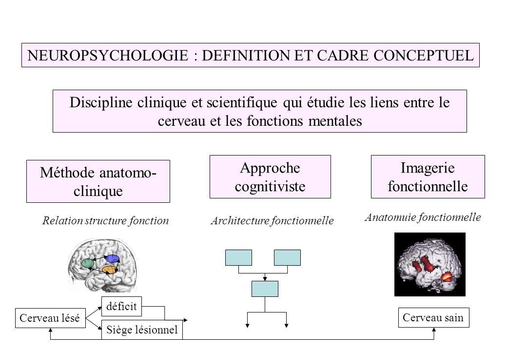 NEUROPSYCHOLOGIE : DEFINITION ET CADRE CONCEPTUEL Discipline clinique et scientifique qui étudie les liens entre le cerveau et les fonctions mentales Méthode anatomo- clinique Approche cognitiviste Imagerie fonctionnelle Relation structure fonctionArchitecture fonctionnelle Cerveau lésé Cerveau sain déficit Siège lésionnel Anatomuie fonctionnelle