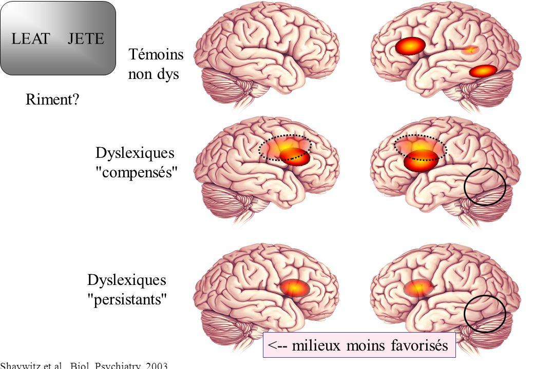 Témoins non dys Dyslexiques compensés Dyslexiques persistants LEAT JETE Riment.