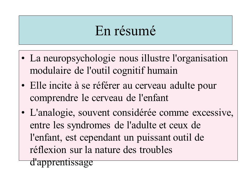 En résumé La neuropsychologie nous illustre l organisation modulaire de l outil cognitif humain Elle incite à se référer au cerveau adulte pour comprendre le cerveau de l enfant L analogie, souvent considérée comme excessive, entre les syndromes de l adulte et ceux de l enfant, est cependant un puissant outil de réflexion sur la nature des troubles d apprentissage