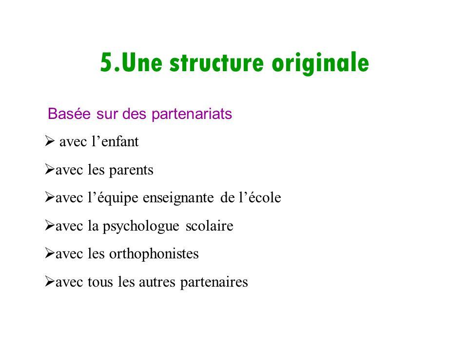 5.Une structure originale avec lenfant avec les parents avec léquipe enseignante de lécole avec la psychologue scolaire avec les orthophonistes avec t