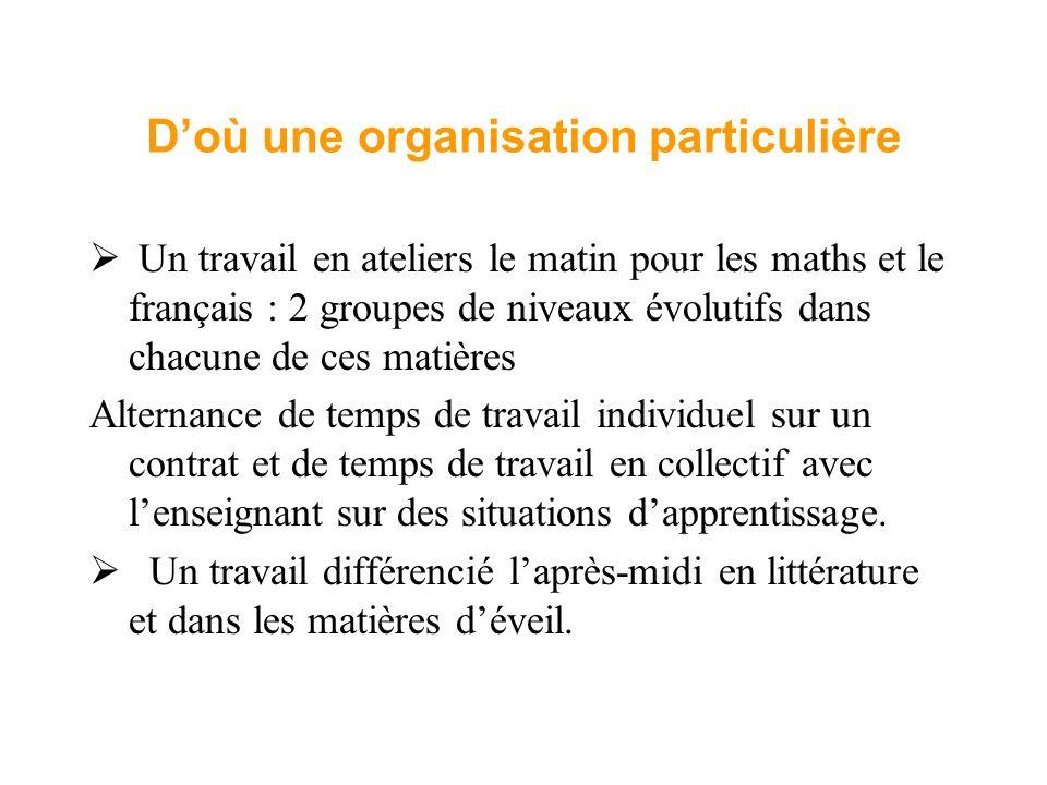 Doù une organisation particulière Un travail en ateliers le matin pour les maths et le français : 2 groupes de niveaux évolutifs dans chacune de ces m