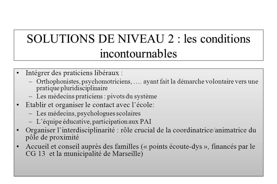 Intégrer des praticiens libéraux : –Orthophonistes, psychomotriciens, …. ayant fait la démarche volontaire vers une pratique pluridisciplinaire –Les m