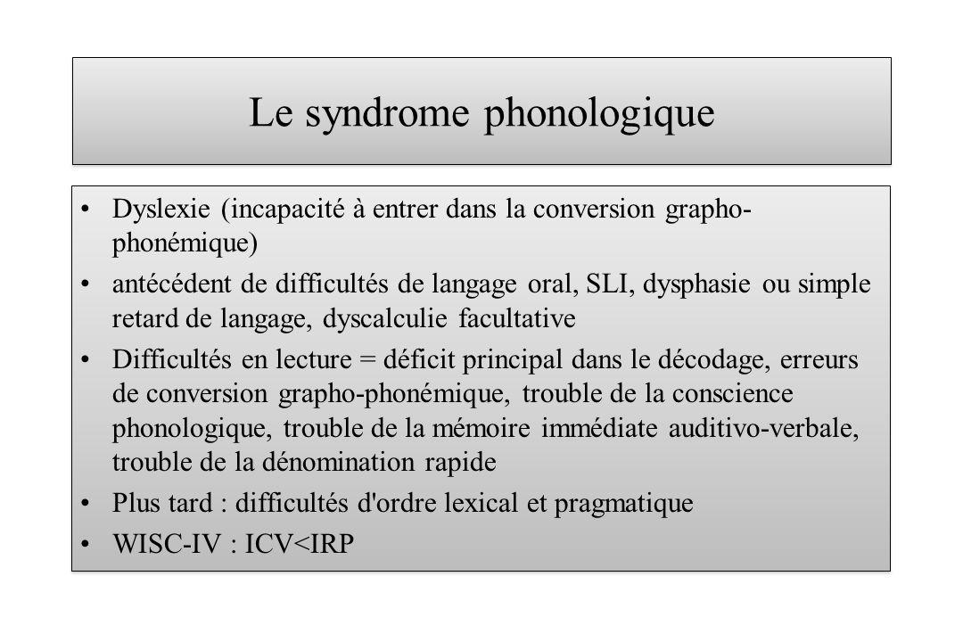 Le syndrome phonologique Dyslexie (incapacité à entrer dans la conversion grapho- phonémique) antécédent de difficultés de langage oral, SLI, dysphasi