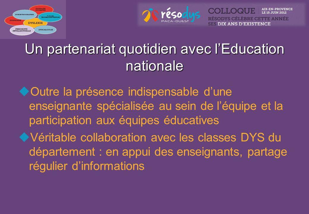 Un partenariat quotidien avec lEducation nationale Outre la présence indispensable dune enseignante spécialisée au sein de léquipe et la participation