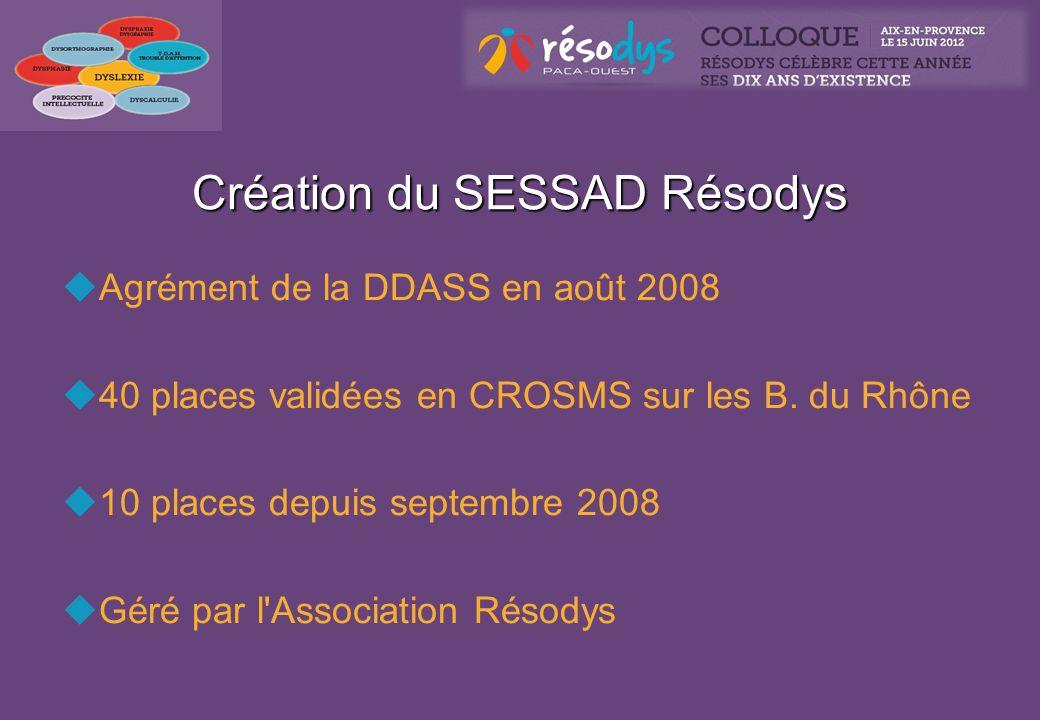 Création du SESSAD Résodys Agrément de la DDASS en août 2008 40 places validées en CROSMS sur les B. du Rhône 10 places depuis septembre 2008 Géré par