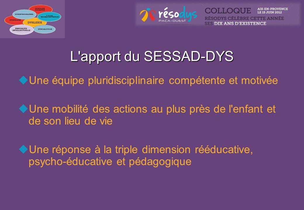 L'apport du SESSAD-DYS Une équipe pluridisciplinaire compétente et motivée Une mobilité des actions au plus près de l'enfant et de son lieu de vie Une