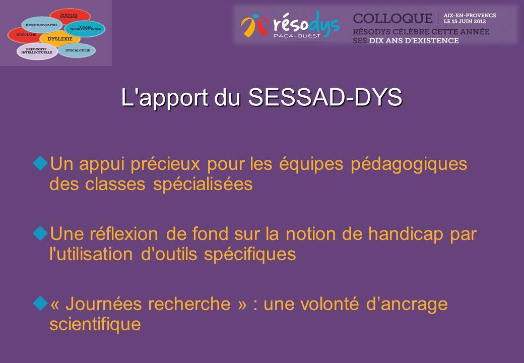 L'apport du SESSAD-DYS Un appui précieux pour les équipes pédagogiques des classes spécialisées Une réflexion de fond sur la notion de handicap par l'