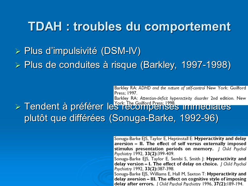 TROUBLES COMPORTEMENTAUX DANS L'HYPERACTIVITÉ DE L'ENFANT : déficit d'inhibition ou défaut du système de récompense? M. Habib, S. Kasprzak, B. LeGall,