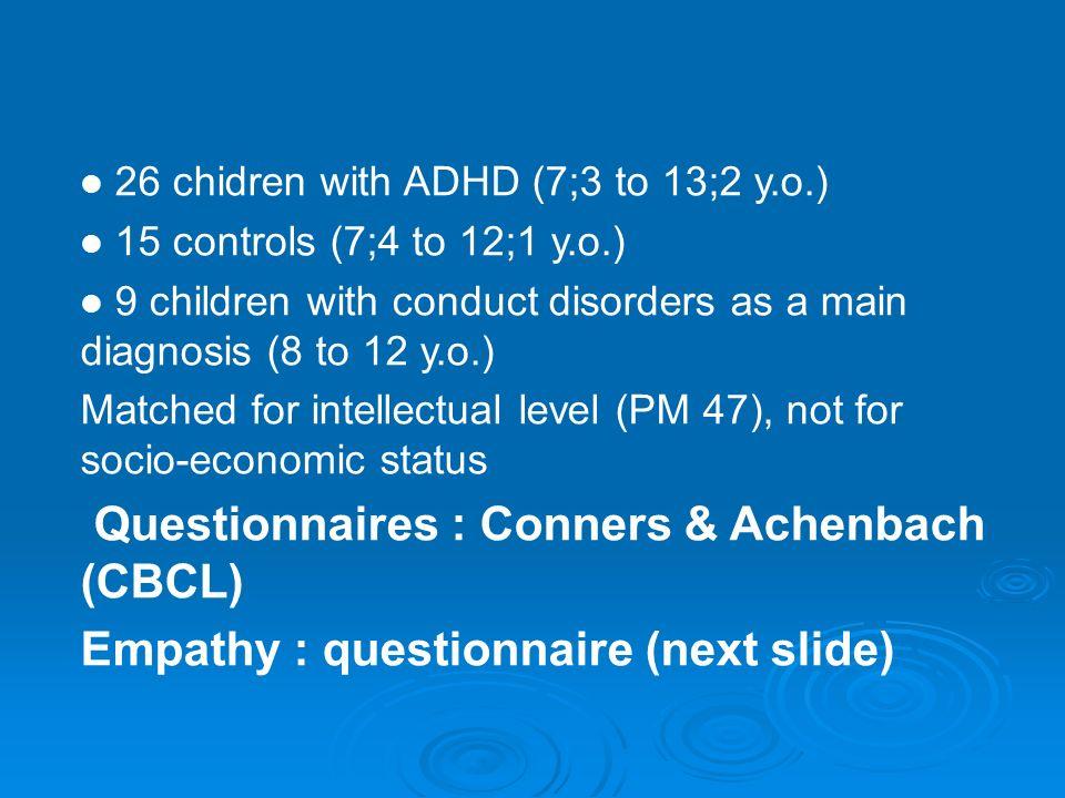Questions : Quels rapports entre TDAH et tr des conduites? Quels rapports entre TDAH et tr des conduites? Quels rapports avec la psychopathie de ladul