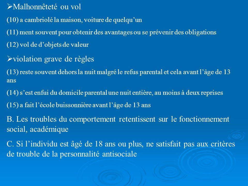 CRITERES DSM IV Troubles des conduites A.Pattern comportemental répétitif et persistant de violation des droits et normes sociales se manifestant par