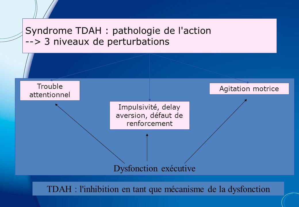Syndrome TDAH : pathologie de l action --> 3 niveaux de perturbations Dysfonction exécutive TDAH : l inhibition en tant que mécanisme de la dysfonction Agitation motrice Trouble attentionnel Impulsivité, delay aversion, défaut de renforcement