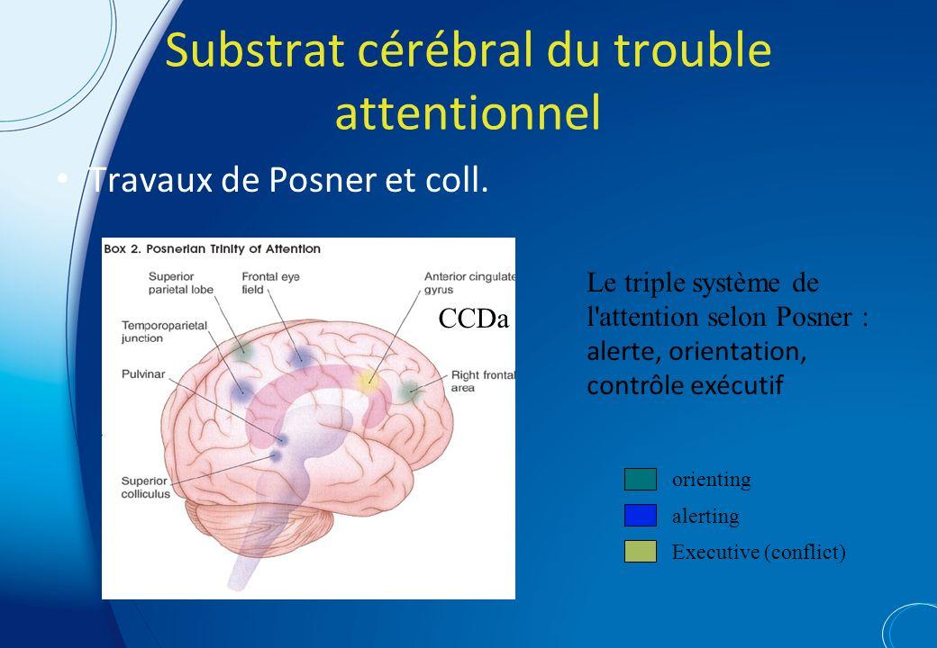 Substrat cérébral du trouble attentionnel Travaux de Posner et coll.