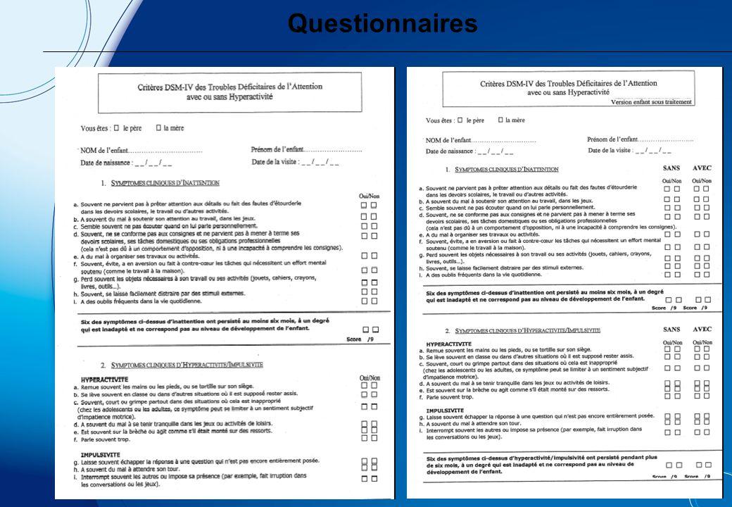 Questionnaires QUESTIONNAIRE DE CONNERS POUR LES PARENTS (Version à 48 items)
