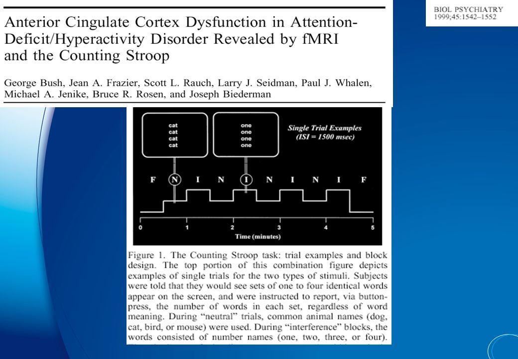 Striatum : caudé et putamen Cingulaire dorsal antérieur Cortex pré- frontal dorso- latéral Cortex pré- frontal ventro- latéral Cortex pariétal cervele