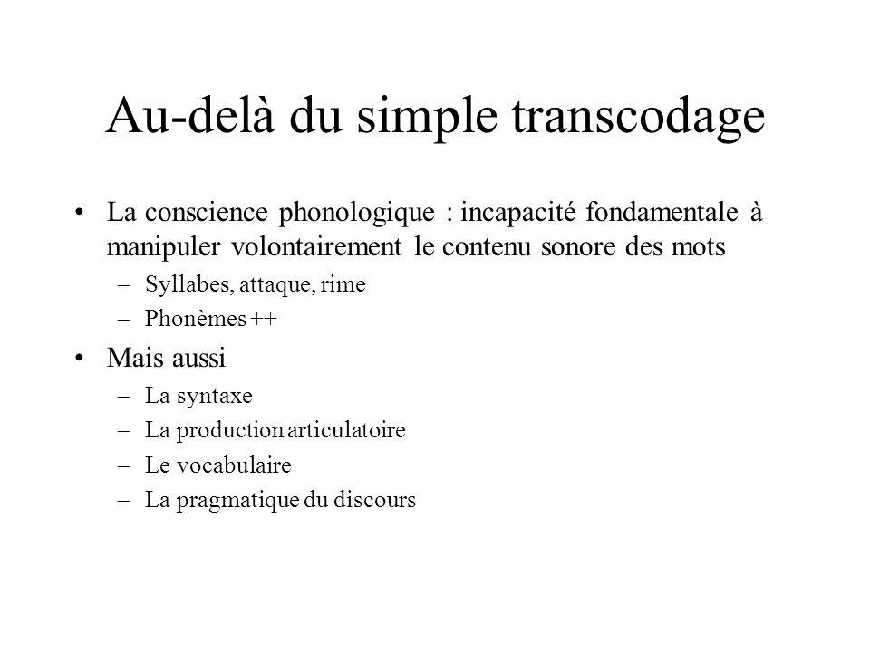 Au-delà du simple transcodage La conscience phonologique : incapacité fondamentale à manipuler volontairement le contenu sonore des mots –Syllabes, at