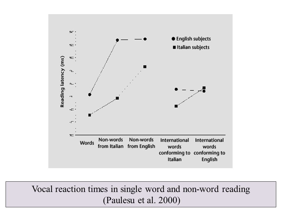 Vocal reaction times in single word and non-word reading (Paulesu et al. 2000)