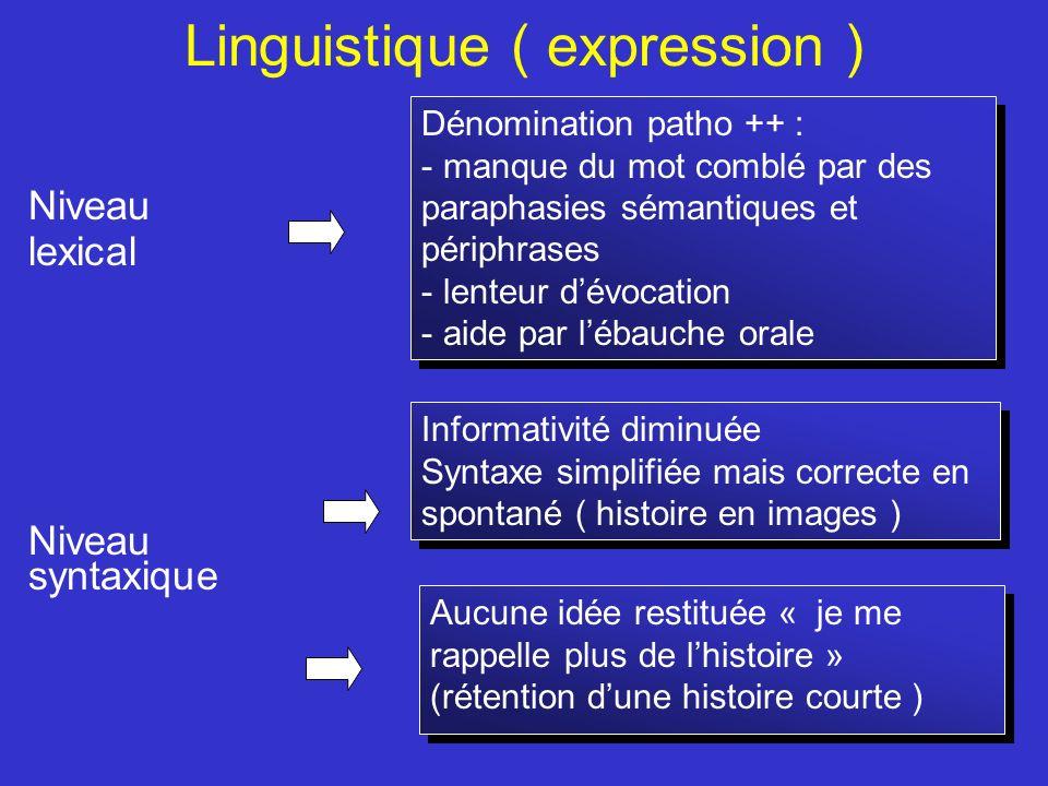 Linguistique ( expression ) Niveau lexical Niveau syntaxique Dénomination patho ++ : - manque du mot comblé par des paraphasies sémantiques et périphr