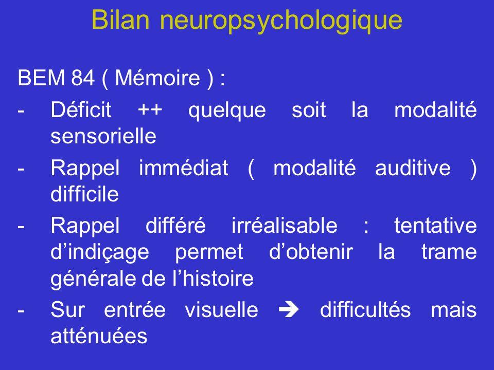 Bilan neuropsychologique BEM 84 ( Mémoire ) : -Déficit ++ quelque soit la modalité sensorielle -Rappel immédiat ( modalité auditive ) difficile -Rappe