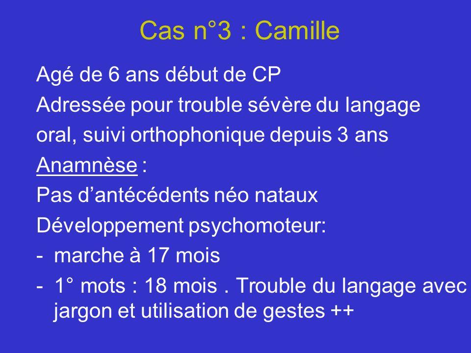 Cas n°3 : Camille Agé de 6 ans début de CP Adressée pour trouble sévère du langage oral, suivi orthophonique depuis 3 ans Anamnèse : Pas dantécédents