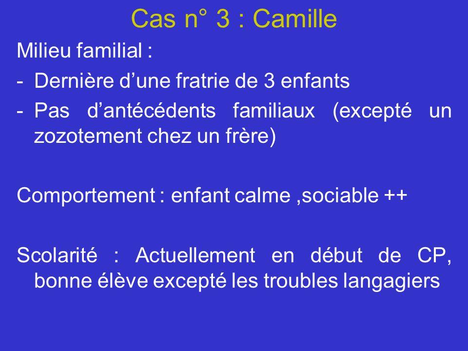 Cas n° 3 : Camille Milieu familial : -Dernière dune fratrie de 3 enfants -Pas dantécédents familiaux (excepté un zozotement chez un frère) Comportemen