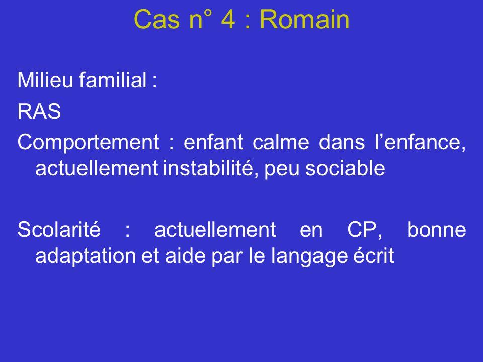 Cas n° 4 : Romain Milieu familial : RAS Comportement : enfant calme dans lenfance, actuellement instabilité, peu sociable Scolarité : actuellement en