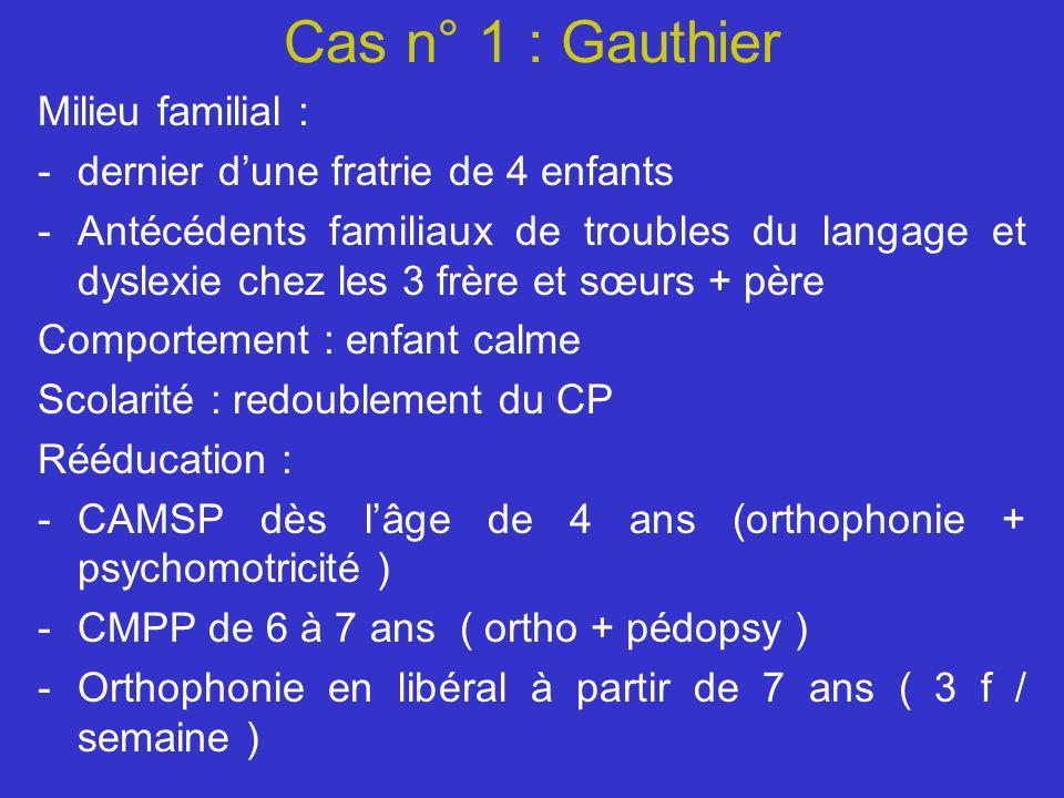 Cas n° 1 : Gauthier Milieu familial : -dernier dune fratrie de 4 enfants -Antécédents familiaux de troubles du langage et dyslexie chez les 3 frère et