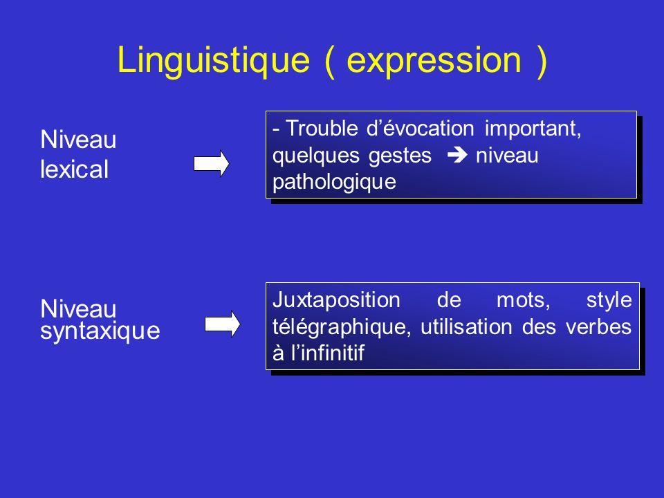 Linguistique ( expression ) Niveau lexical Niveau syntaxique - Trouble dévocation important, quelques gestes niveau pathologique Juxtaposition de mots