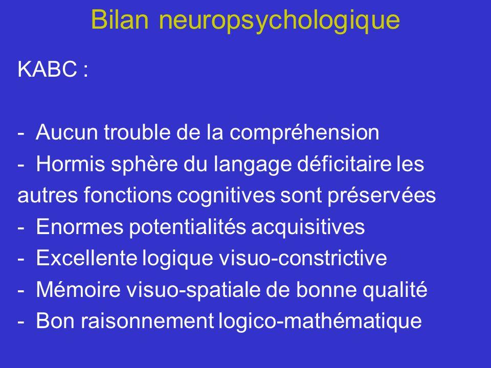 Bilan neuropsychologique KABC : -Aucun trouble de la compréhension -Hormis sphère du langage déficitaire les autres fonctions cognitives sont préservé