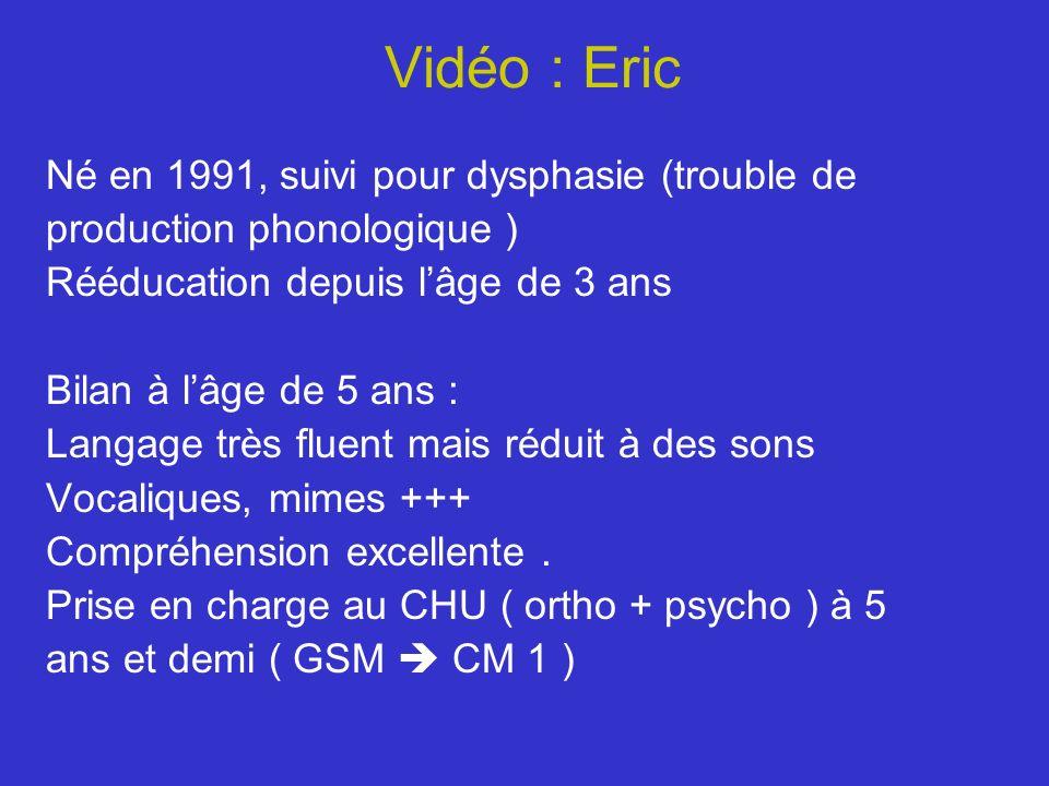 Vidéo : Eric Né en 1991, suivi pour dysphasie (trouble de production phonologique ) Rééducation depuis lâge de 3 ans Bilan à lâge de 5 ans : Langage t