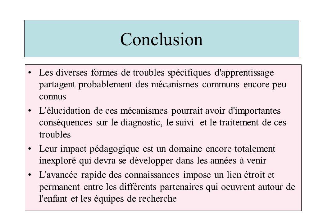 Conclusion Les diverses formes de troubles spécifiques d'apprentissage partagent probablement des mécanismes communs encore peu connus L'élucidation d