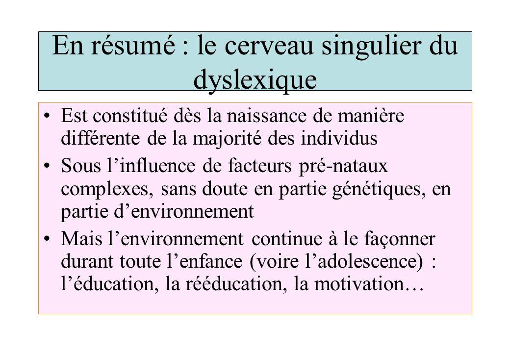 En résumé : le cerveau singulier du dyslexique Est constitué dès la naissance de manière différente de la majorité des individus Sous linfluence de fa
