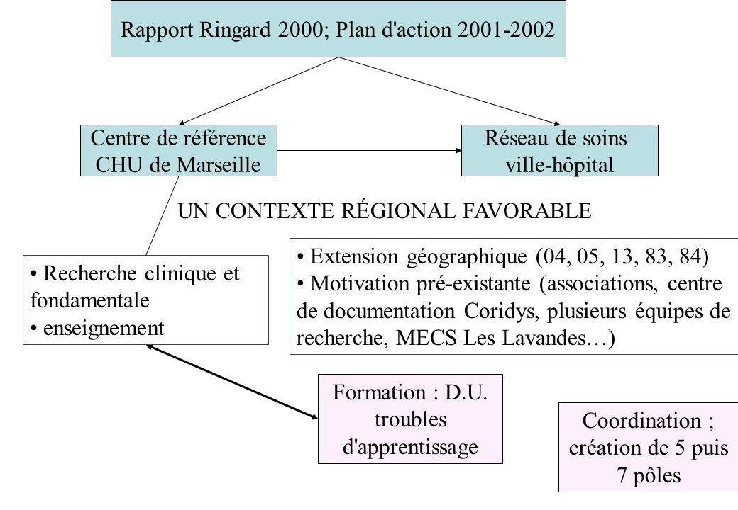 Centre de référence CHU de Marseille Réseau de soins ville-hôpital Rapport Ringard 2000; Plan d'action 2001-2002 Extension géographique (04, 05, 13, 8