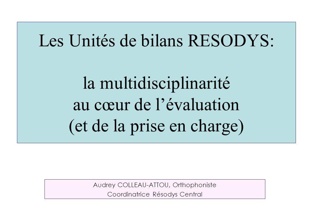 Les Unités de bilans RESODYS: la multidisciplinarité au cœur de lévaluation (et de la prise en charge) Audrey COLLEAU-ATTOU, Orthophoniste Coordinatri