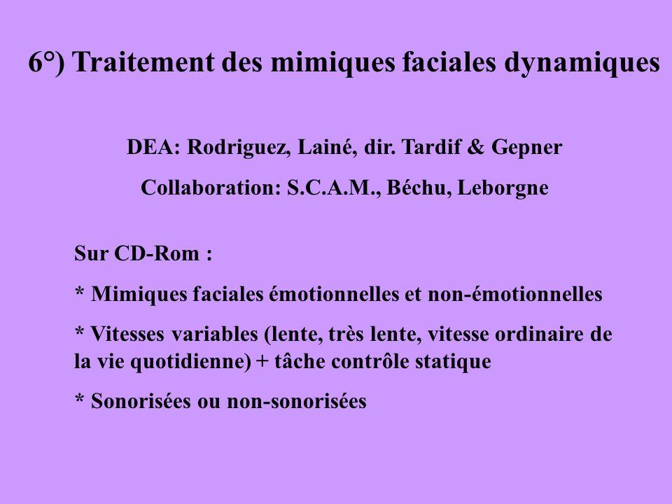 6°) Traitement des mimiques faciales dynamiques DEA: Rodriguez, Lainé, dir. Tardif & Gepner Collaboration: S.C.A.M., Béchu, Leborgne Sur CD-Rom : * Mi