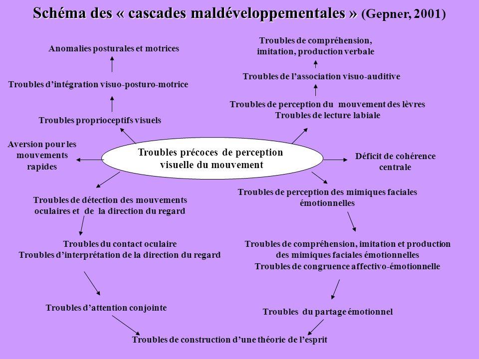 Troubles précoces de perception visuelle du mouvement Troubles de compréhension, imitation et production des mimiques faciales émotionnelles Troubles