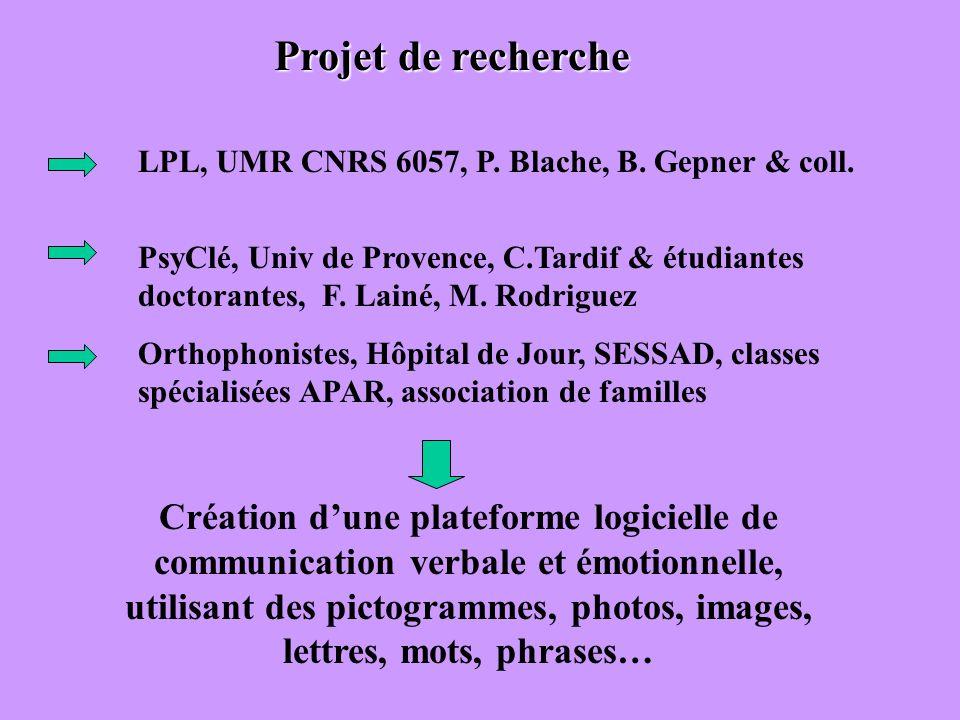 LPL, UMR CNRS 6057, P. Blache, B. Gepner & coll. PsyClé, Univ de Provence, C.Tardif & étudiantes doctorantes, F. Lainé, M. Rodriguez Orthophonistes, H