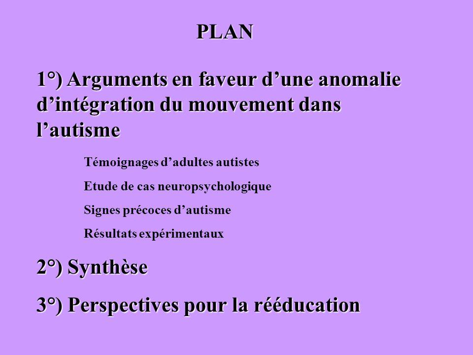 1°) Arguments en faveur dune anomalie dintégration du mouvement dans lautisme Témoignages dadultes autistes Etude de cas neuropsychologique Signes pré