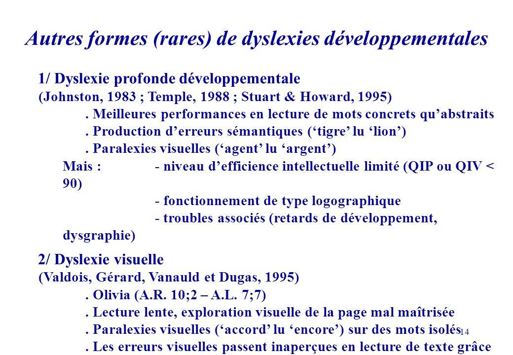 14 1/ Dyslexie profonde développementale (Johnston, 1983 ; Temple, 1988 ; Stuart & Howard, 1995).