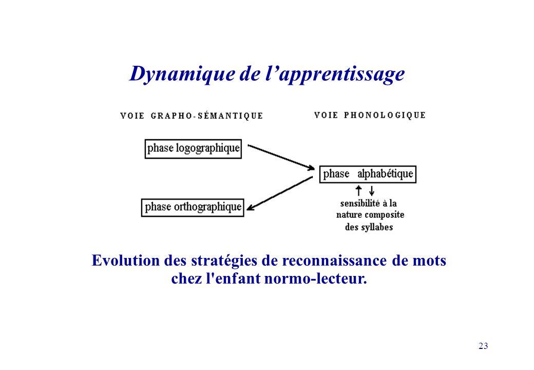 23 Evolution des stratégies de reconnaissance de mots chez l enfant normo-lecteur.