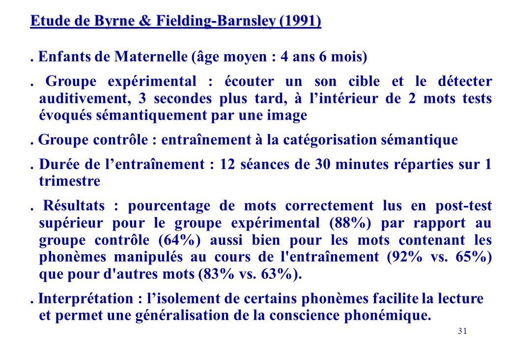 31 Etude de Byrne & Fielding-Barnsley (1991).Enfants de Maternelle (âge moyen : 4 ans 6 mois).