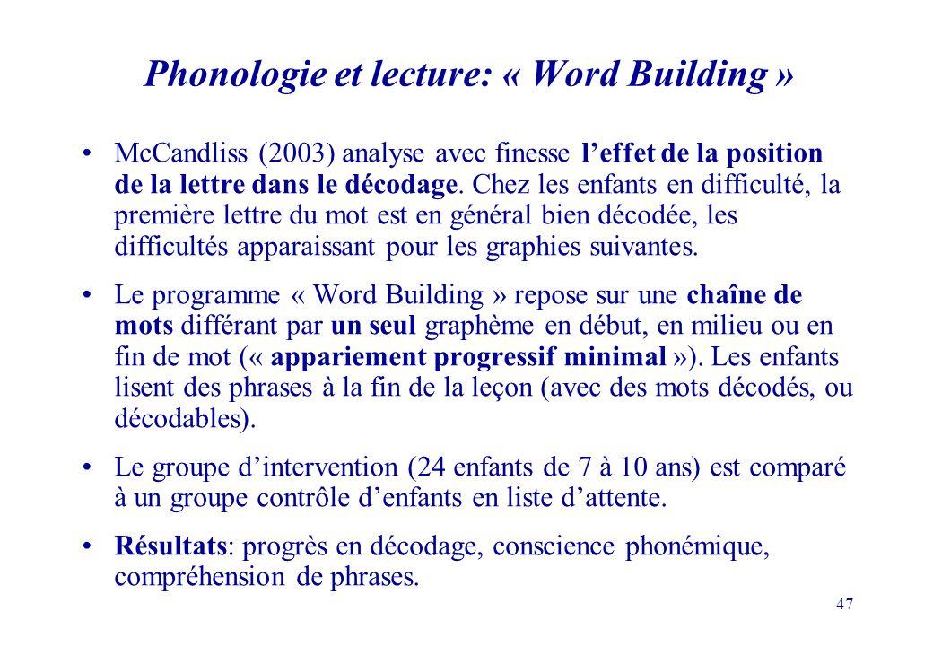 47 Phonologie et lecture: « Word Building » McCandliss (2003) analyse avec finesse leffet de la position de la lettre dans le décodage.