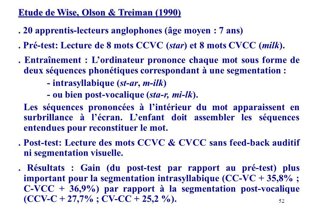 52 Etude de Wise, Olson & Treiman (1990).20 apprentis-lecteurs anglophones (âge moyen : 7 ans).