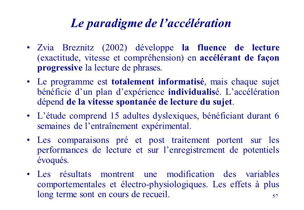 57 Le paradigme de laccélération Zvia Breznitz (2002) développe la fluence de lecture (exactitude, vitesse et compréhension) en accélérant de façon progressive la lecture de phrases.