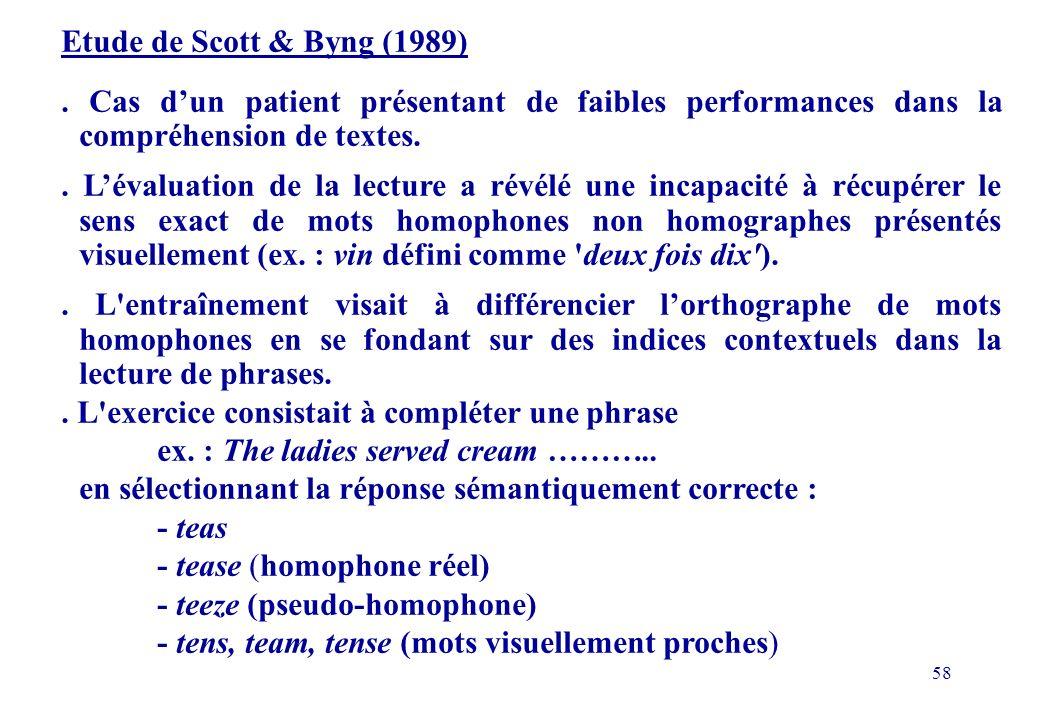 58 Etude de Scott & Byng (1989).
