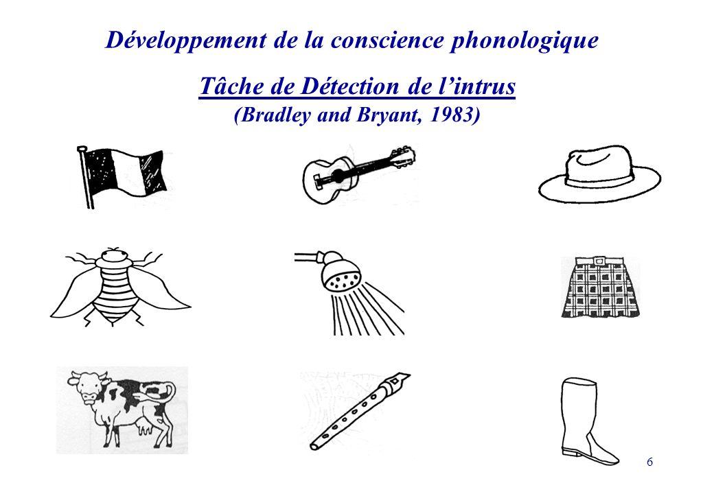 6 Développement de la conscience phonologique Tâche de Détection de lintrus (Bradley and Bryant, 1983)
