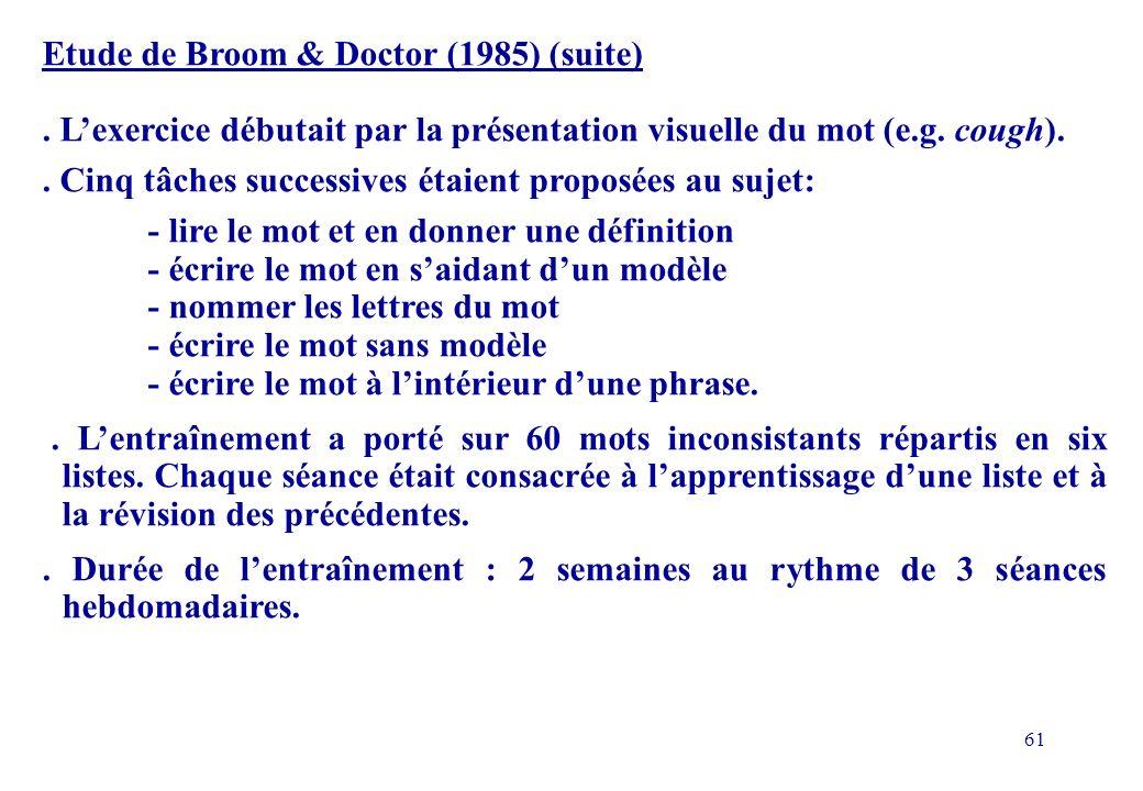 61 Etude de Broom & Doctor (1985) (suite).
