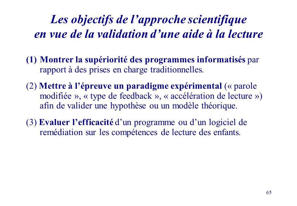 65 Les objectifs de lapproche scientifique en vue de la validation dune aide à la lecture (1)Montrer la supériorité des programmes informatisés par rapport à des prises en charge traditionnelles.